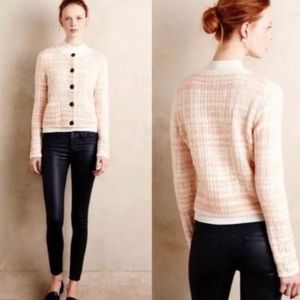 Anthro knitted & knitted plaid boucle cardigan